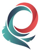 small omes logo that is circular and comprised of red and green feathers